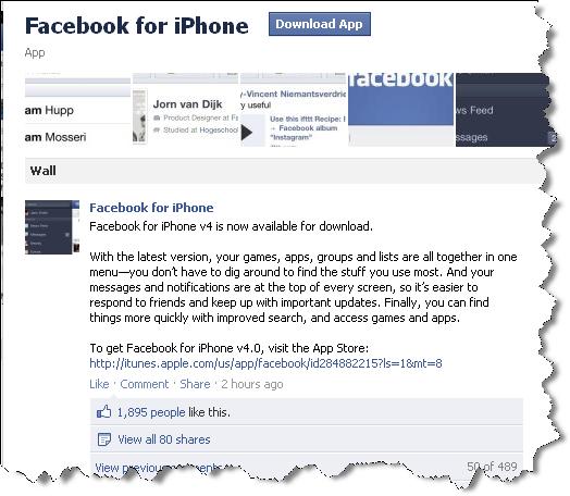 Facebook v4 for iPhone