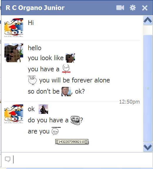 FB Chat Emoticon response