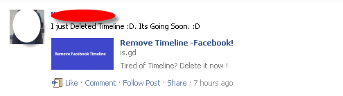Deleted Facebook Timeline