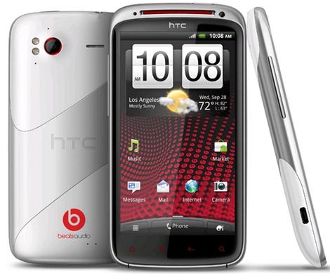 White HTC Sensation XE with Beats Audio
