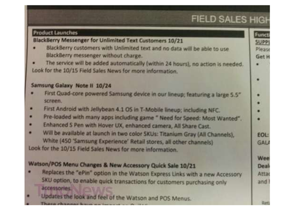 T-Mobile Samsung Galaxy Note II Release Date Comes In Two Colors