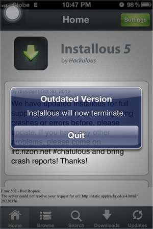 Installous 5 Outdated Version