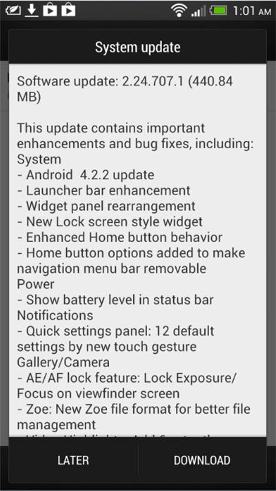 HTC One Jellybean 4.2.2 Update - System Update