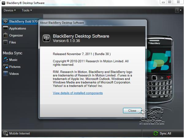 Blackberry Desktop Software version 6.1.0.36