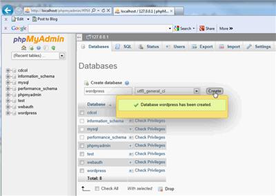 Create Database With XAMPP