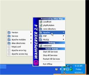 WampServer in TrayBar