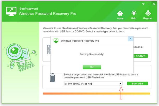 iSeePassword Windows Password Recovery Pro - Burning process