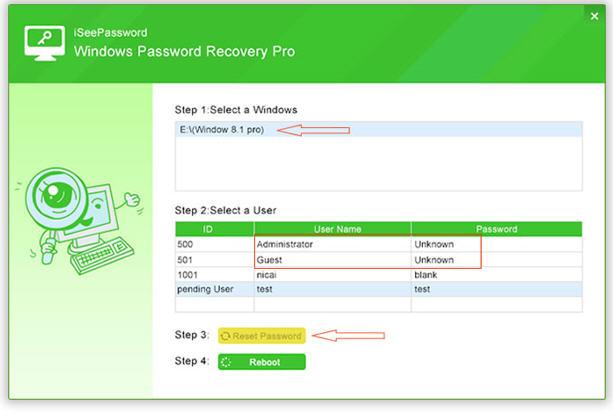 iSeePassword Windows Password Recovery Pro - Select Windows